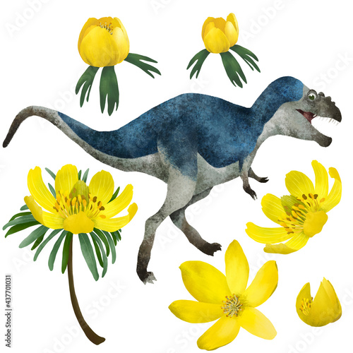 Платно Cute dinosaur (gorgosaurus) on rainforest background, funny reptile in forest, jungle, childish clipart set with bright yellow lily flowers, cartoon isolated illustration