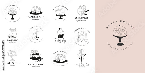 Fotografia Simple and elegant homemade bakery logo collection