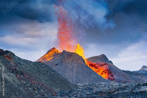Iceland Volcano Volcanic Eruption with lava at Fagradalsfjall, Reykjanes Peninsu Fototapet