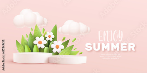 Enjoy Summer 3d realistic background with clouds, daisies, grass, leaves and product podium on a pink background. Vector illustration