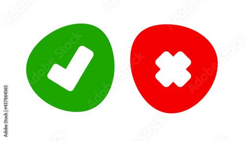 Obraz na płótnie tick and cross icon