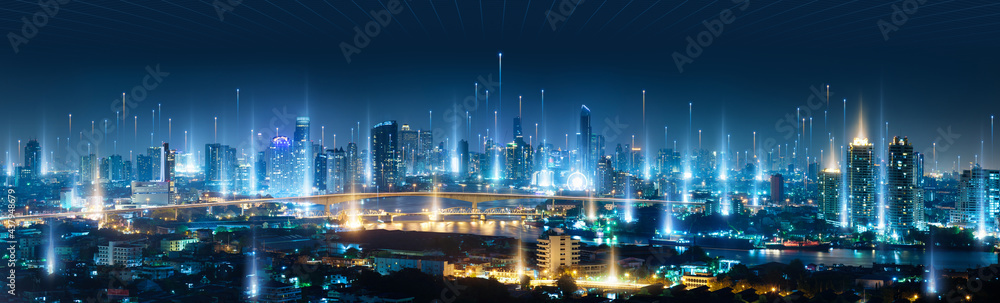 Banner smart city dot point connect with gradient line, connection technology concept. Bangkok city background at night with big data in Thailand, Panorama view.