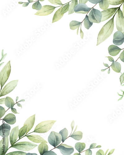 Canvas-taulu Watercolor vector card of green branches and leaves.