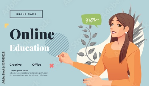 Fotografie, Obraz Landing page template for online courses, distance education, Internet studying, training