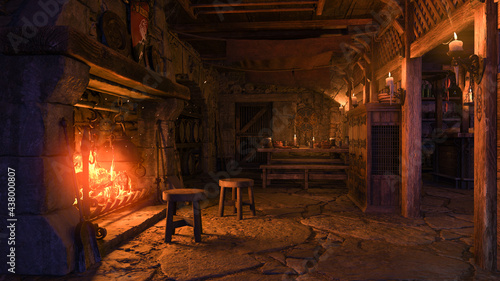 Obraz na plátně 3D rendering of a medieval tavern interior lit by candlelight and burning fire