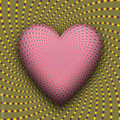 Canvas Print Heart beating optical illusion. Vector trippy moving abstraction.