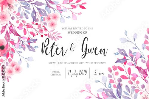 Carta da parati watercolor wedding invitation with floral border design vector illustration