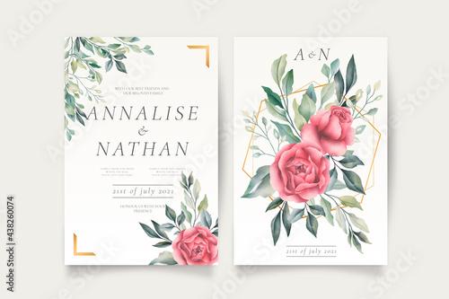 wedding invitation template with beautiful flowers Fototapet