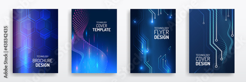 Abstract technology cover with circuit board. High tech brochure design concept. Set of Futuristic business layout. Futuristic Digital poster templates.