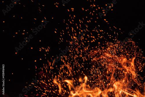 Fire flames on black background, close-up Fototapeta
