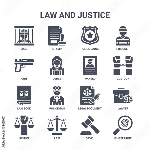 Billede på lærred icon set of 16 law and justice concept vector filled icons such as stamp, gun, c
