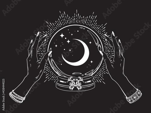 Magic crystal ball with crescent moon and stars in hands of fortune teller line art and dot work. Boho chic tattoo, poster or altar veil print design vector illustration