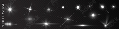 Flash light on black background. Vector glow sparkle effect. Abstract lens flare ignition. Flashing lights