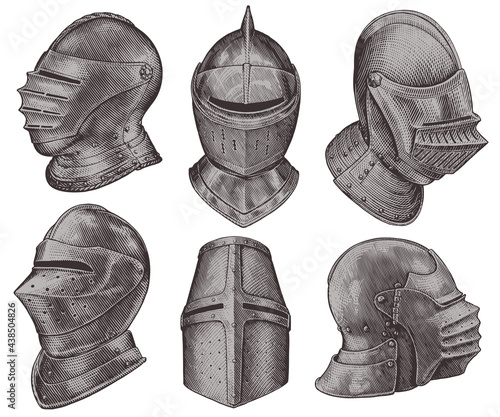 Obraz na plátně Medieval knight helmets