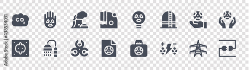 Fotografia nuclear energy glyph icons on transparent background
