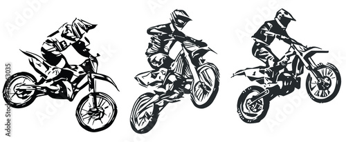 Canvas Print Motocross Jump silhouette Vector isolated on white background