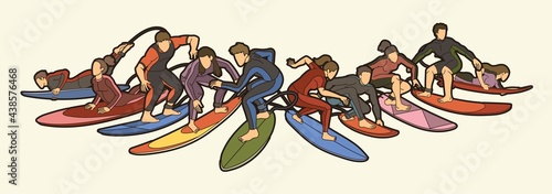 Valokuva Surfer Action Group of Surfing Sport Man and Woman Players Cartoon Graphic Vecto