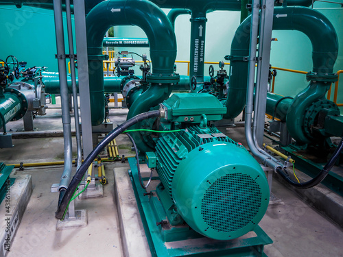 Fotografia, Obraz Pump and motor which popular to install with pipe in industrial such chemical, power plant, oil and gas