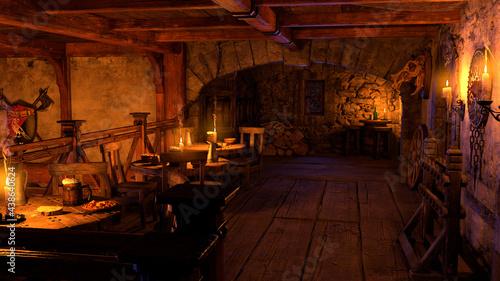 Fotografia, Obraz 3D Rendering Medieval Tavern