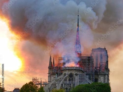 Fototapeta Notre Dame on fire on Easter Monday