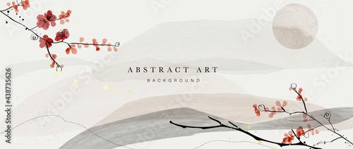 Fotografía Abstract art mountain and flower background vector