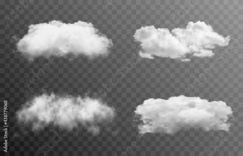 Set of vector clouds or smoke on an isolated transparent background. Cloud, smoke, fog, png.