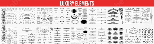 Vintage line elements. Retro design elements. Ornaments and Frames. Drawing geometrics line. Decoration, banners, posters, emblems, Vector set of vintage styled calligraphic elements or flourishes