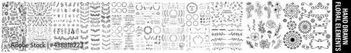 Hand sketched vector vintage elements ( laurels, leaves, flowers, swirls and feathers).sketches and line doodles hand drawn design floral elements, Hand drawn vintage leaves, arrows, feathers. #438818223