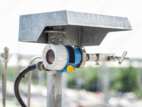 Billede på lærred Temperature transmitter for measuring instrument close up in industry zone at power plant