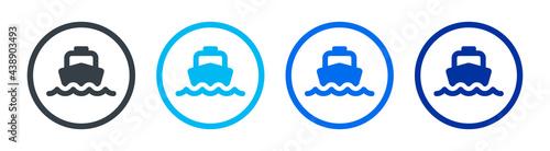 Obraz na plátně Ferry boat icons set. Marine transportation. vector illustration