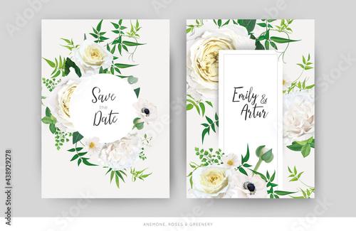 Billede på lærred Tender floral vector wedding invite, save the date card template design set