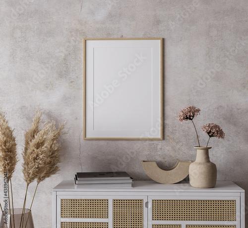 Obraz na plátne Mock up frame in Boho home interior background, 3d render