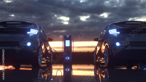 Electric cars charging at a charging station. 3d rendering