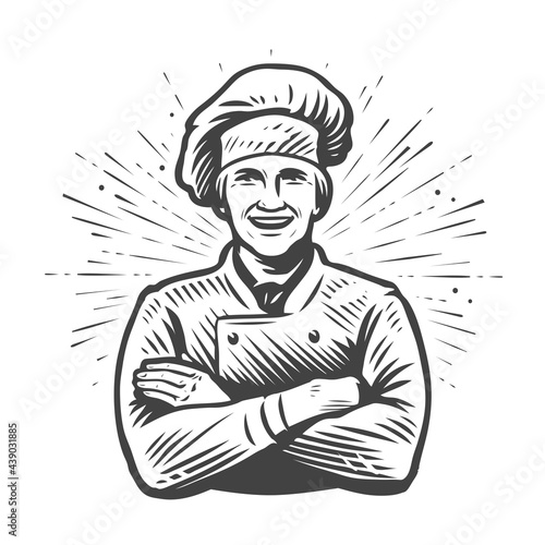 Leinwand Poster Chef with hat symbol. Food concept. Vector illustration