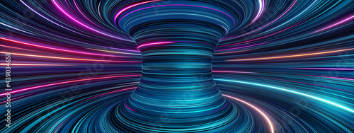 Photo 3d render, abstract cosmic panoramic background, blue pink neon rays and glowing lines