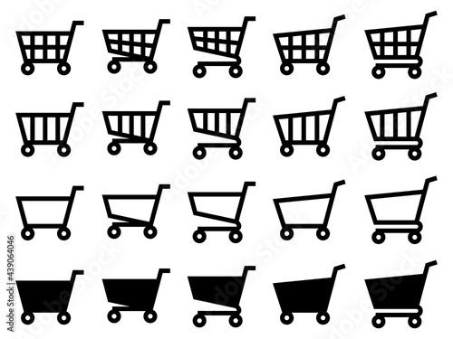 Fotomural 汎用ショッピングカートアイコンセット【ネット通販/シンプルイラスト】