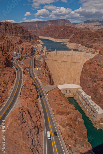 Wallpaper Mural Bridge view of Hoover Dam with Lake Mead in Background