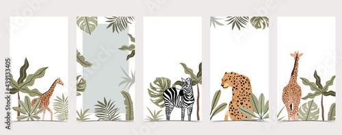 Fototapeta premium Safari background for social media with giraffe,leopard;zebra