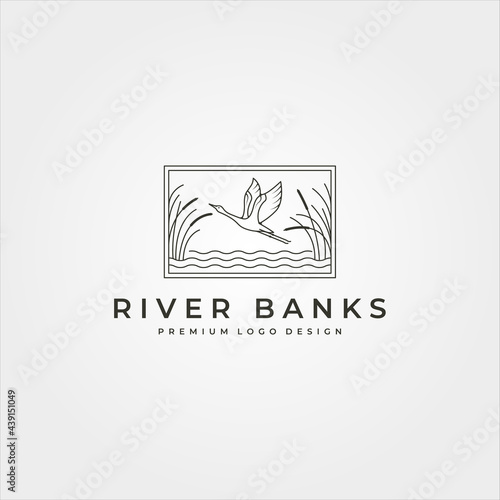 vector of goose in river plant logo design, line art flying swan logo design Fototapet