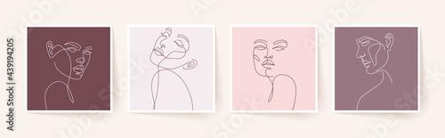 Fotografiet Set of stylized woman faces