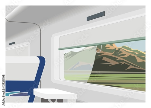 Photo Passenger train interior with mountain scenery