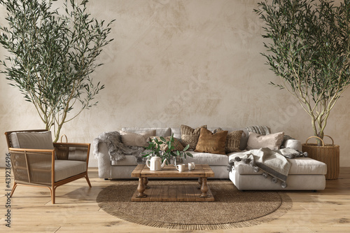 Valokuva Scandinavian farmhouse style beige living room interior with natural wooden furniture