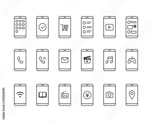 Fotomural スマホとアプリのアイコンセット スマートフォン イラスト アプリケーション シンプル 線 モバイル