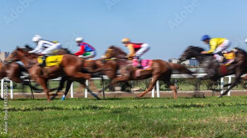 Canvastavla Horses Racing  Jockeys Riding  Panoramic Motion Speed Blur Closeup Photo Action Image