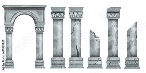 Fotografia Roman marble pillars set, ancient vector Greek stone broken columns collection, antique architecture