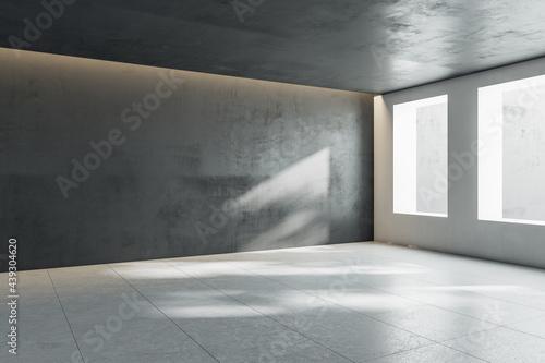 Fényképezés Abstract sunny empty stylish hall room with windows, dark wall and top and ceramic tales floor