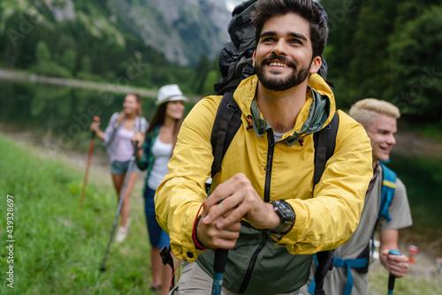 Obraz na płótnie Adventure, travel, tourism, hike and people concept