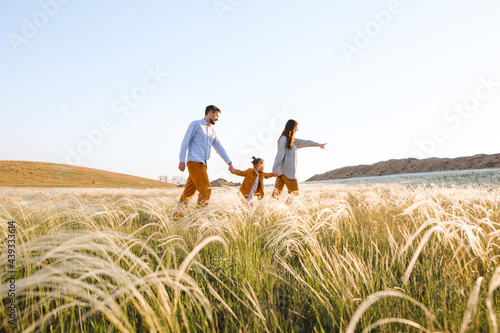 A hipster family walks in a summer field. Fototapet