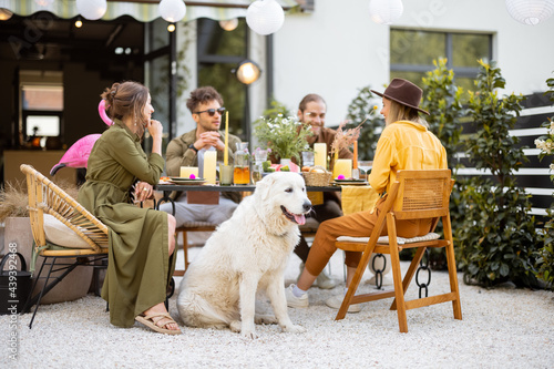 Valokuvatapetti A group of young friends and dog have delicious dinner, having great summertime
