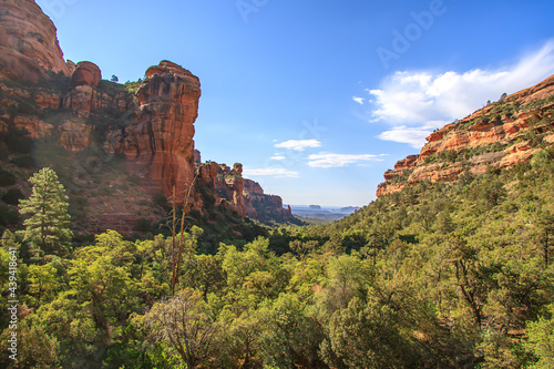 Canvas-taulu Beautiful green canyon with red rocks in the desert